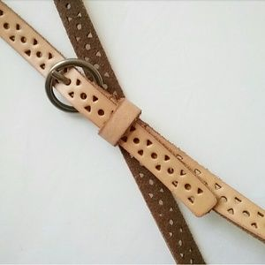 Accessories - Tan Leather Geometric Eyelet Skinny Belt